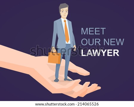 Vector illustration of a portrait of a man in a jacket lawyer with a briefcase in his hand standing on palm of the hand on dark background - stock vector