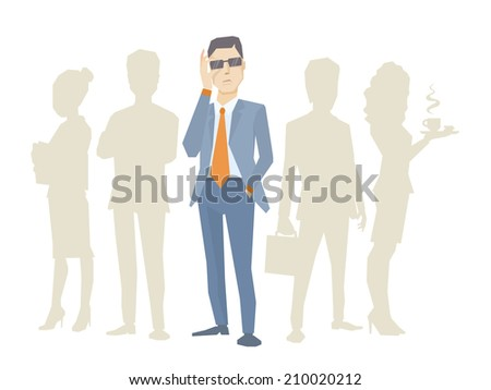 Vector illustration of a portrait of analyst man in a jacket hand holds glasses stands in the center on a background of silhouette business team of businesspeople - stock vector