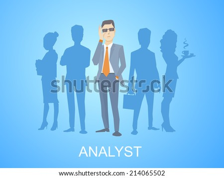 Vector illustration of a portrait of analyst man in a jacket hand holds glasses stands in the center on blue background of silhouette business team of businesspeople - stock vector