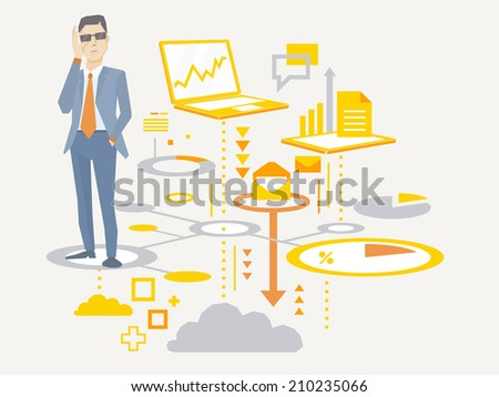 Vector illustration of a portrait of analyst man in a jacket hand holds glasses stands on the scheme of business processes on light background  - stock vector