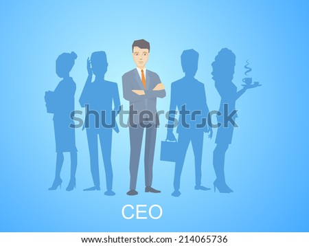 Vector illustration of a portrait of the leader of a businessman wearing a jacket with clasped hands on chest stands in the center on the blue background of silhouette business team of businesspeople - stock vector