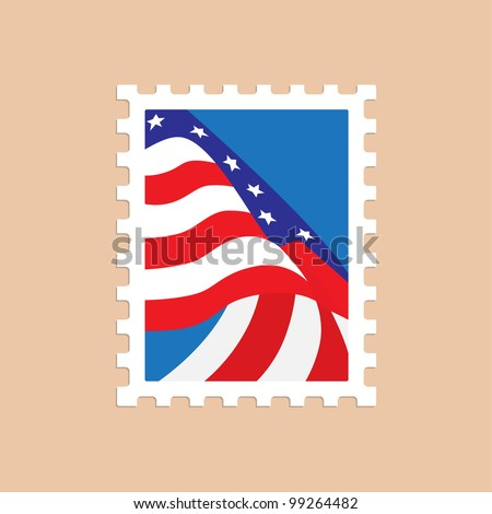 Vector illustration of a postage stamp with the American flag