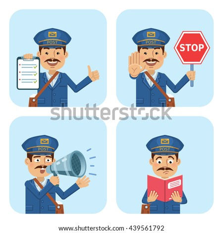 Vector illustration of a postman in different situations