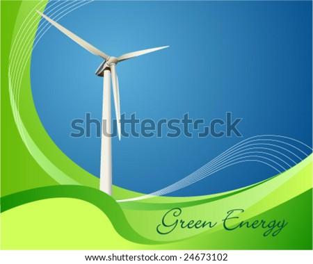 Vector illustration of a power generating wind turbine - stock vector