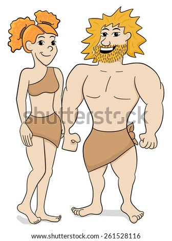 vector illustration of a prehistoric cave dweller couple - stock vector