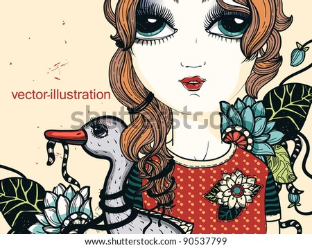 vector illustration of a pretty girl with a grey duck on a floral background - stock vector