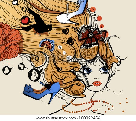 vector illustration of a pretty girl with fantasy  richly decorated haircut - stock vector