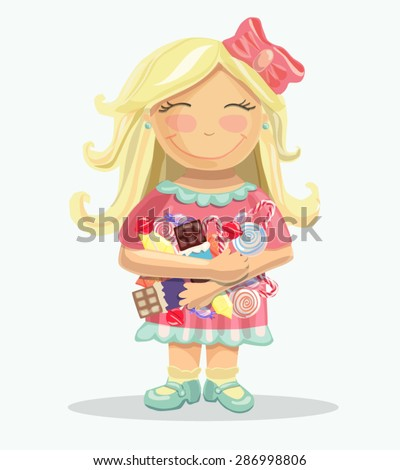 Vector illustration of a pretty little blond girl with bright tasty sweets and candies. Smiling child in cute pink dress. - stock vector