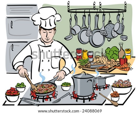 Vector illustration of a professional chef sauteing shrimp with pasta and vegetables in a restaurant kitchen.