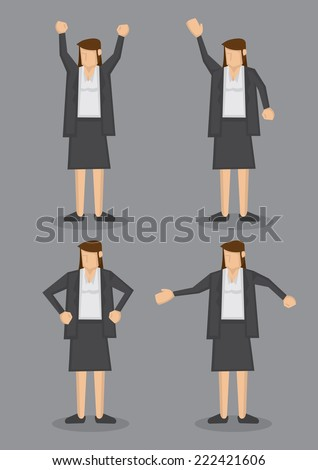 Vector illustration of a professional looking brunette in formal grey suit in four poses isolated on grey background. - stock vector