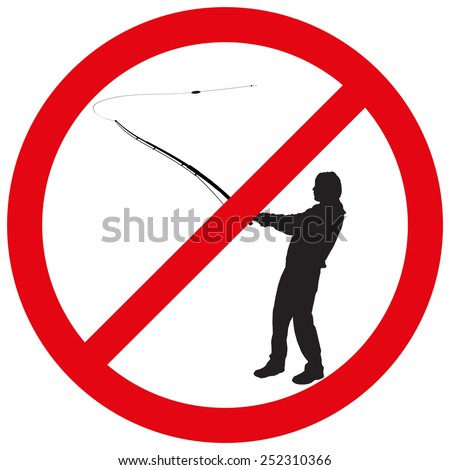 Vector illustration of a prohibition of fishing.