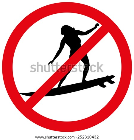 Vector illustration of a prohibition of surfing on white background.