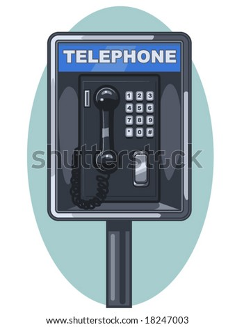 vector illustration of a public phone booth - stock vector