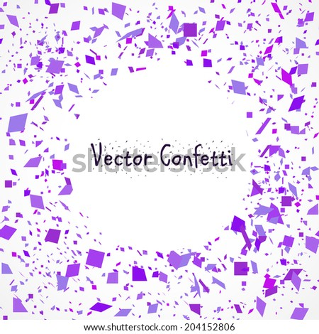Vector Illustration of a Purple Confetti Burst with a place for your text