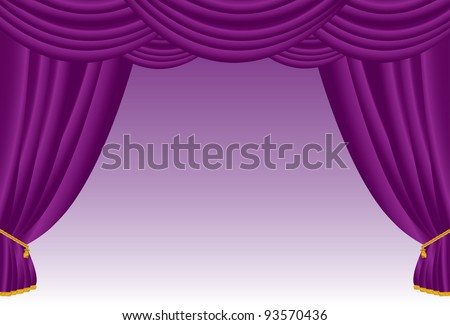 Vector illustration of a purple curtain. - stock vector