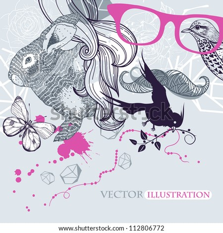 vector illustration of a rabbit, birds , butterflies and an abstract man - stock vector