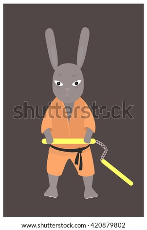 Vector illustration of a rabbit with karate nunchucks (traditional Okinawan martial arts weapon).Flat style. - stock vector