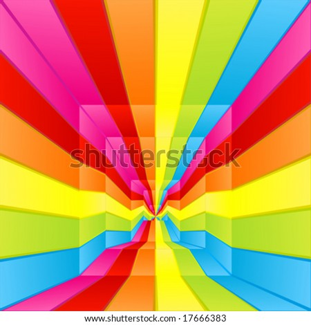Vector illustration of a rainbow colored labyrinth way flowing endlessly to the center. - stock vector
