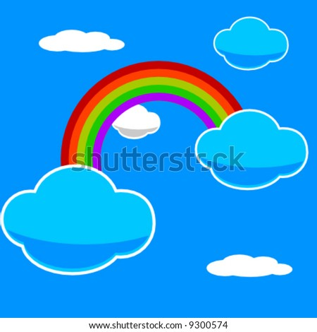 vector illustration of a rainbow in a blue sky