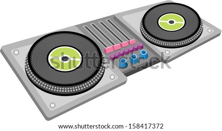Vector illustration of a record player