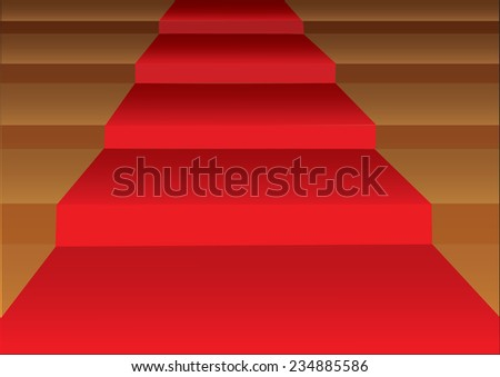 Vector illustration of a red carpet laid on steps of stairs in closeup view. - stock vector