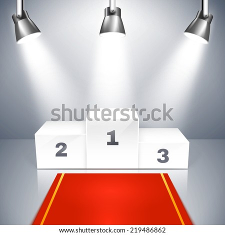Vector illustration of a red carpet leading to an empty winners podium with three places illuminated by overhead metallic spotlights - stock vector