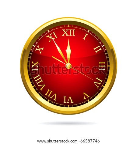 Vector illustration of a red clock. - stock vector