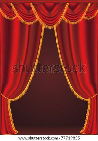 Vector illustration of a red curtains