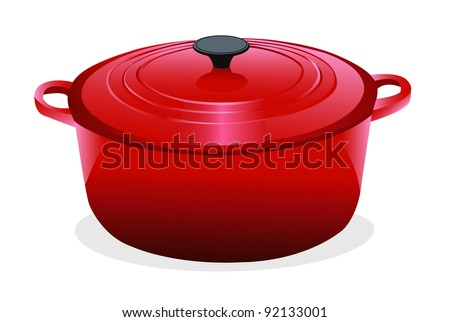 Vector illustration of a red Dutch oven used for cooking, on a white background. - stock vector