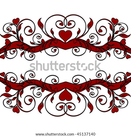 Vector illustration of a red floral border  with hearts