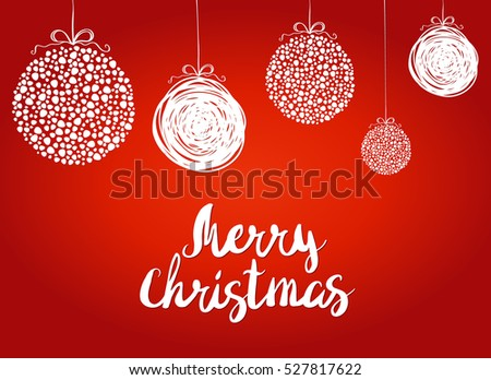 Vector illustration of a red greeting Christmas card and decoration
