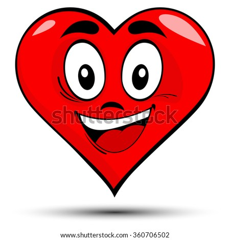 Vector illustration of a red heart with smile - love concepts