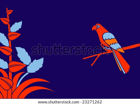 Vector Illustration of a red parrot on a branch - stock vector