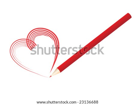 Vector illustration of a red pencil drawing a heart shape