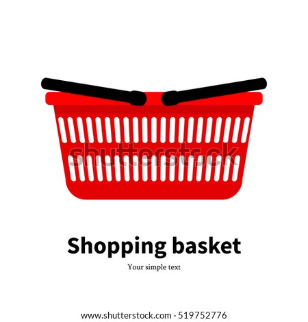 Vector illustration of a red plastic empty shopping basket. Picture, drawing isolated on white background. Side view, profile. Icon, sign shopping bag, box.