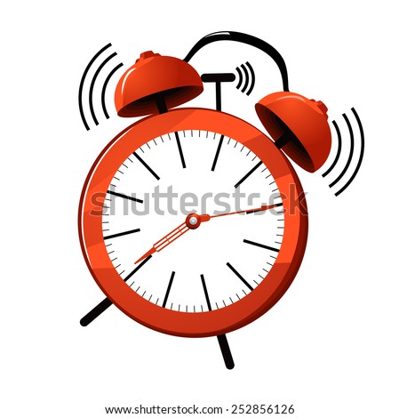Vector illustration of a red ringing alarm clock. - stock vector
