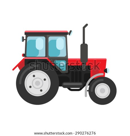 Vector illustration of a red traktor a side view isolated on white