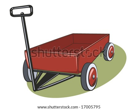 vector illustration of a red wagon - stock vector