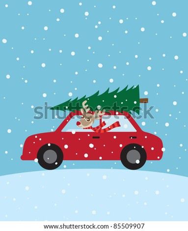 Vector illustration of a reindeer riding a car with christmas tree on the roof.