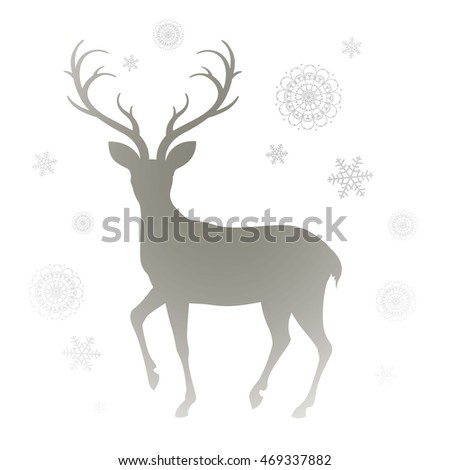 Vector Illustration of a Reindeer Silhouette and Snowflakes