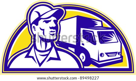 vector Illustration of a removal man delivery guy with moving truck van in the background set inside half circle done in retro style.