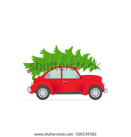Vector illustration of a retro car with presents on the top