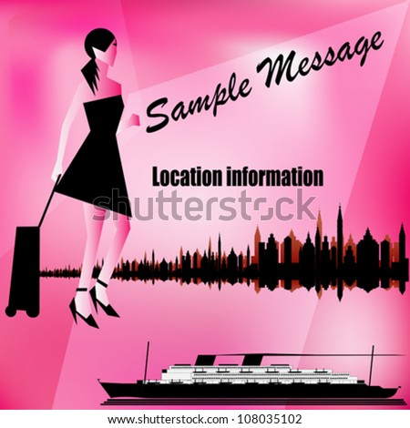 Vector Illustration of a retro Cruise Liner and a city skyline with a stylish female traveler - stock vector