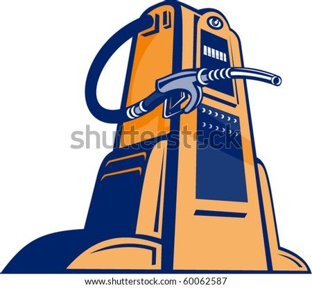 vector illustration of a Retro Gasoline pump filling station nozzle viewed from low angle isolated on white done in retro style. - stock vector
