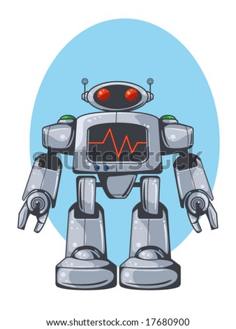 vector illustration of a retro robot - stock vector