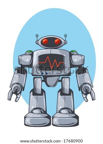 vector illustration of a retro robot - stock vector