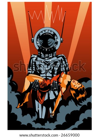 vector illustration of a retro robot carrying a helpless woman.... color version - stock vector