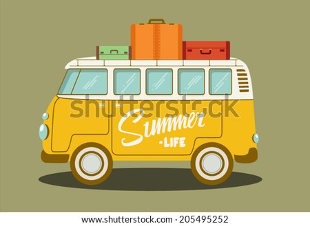 Vector illustration of a retro travel van - stock vector