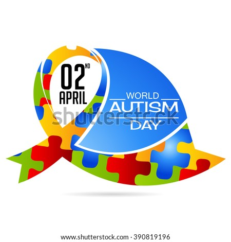 Vector illustration of a ribbon for World Autism Day. - stock vector