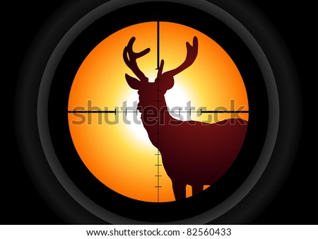 Vector illustration of a rifle lens aiming a deer - stock vector